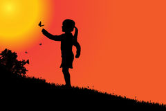 Vector silhouette of a girl. Royalty Free Stock Photo