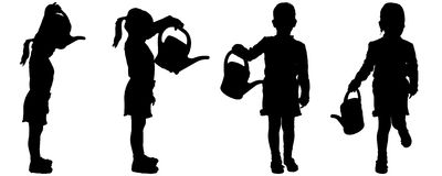 Vector silhouette of girl. Stock Images