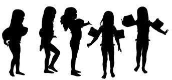 Vector silhouette of girl. Stock Image