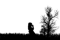 Vector silhouette of girl. Stock Photo