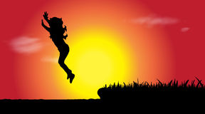 Vector silhouette of girl who jumps. Stock Image