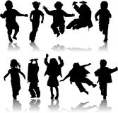 Vector silhouette girls and boys. Illustration Royalty Free Stock Photography