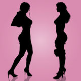 Vector silhouette of the girls. Stock Image