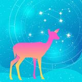 Vector silhouette of a gradient deer or doe Illustration on a blue grain starry backgroud with constellation of stars, natal chart