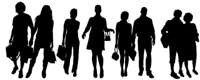 Vector silhouette of a group of people. Royalty Free Stock Photography