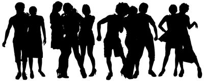 Vector silhouette of a group of people. Royalty Free Stock Photos