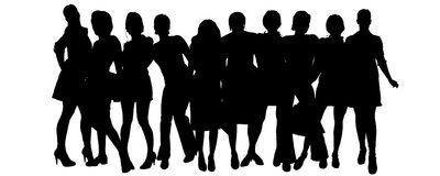 Vector silhouette of a group of people. Royalty Free Stock Image