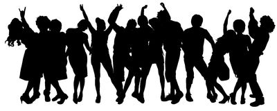 Vector silhouette of a group of people. Stock Photos