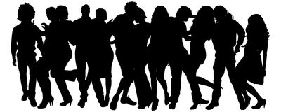 Vector silhouette of a group of people. Royalty Free Stock Photo