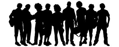 Vector silhouette of a group of people. Stock Photography