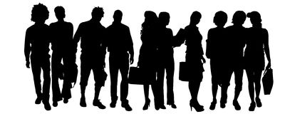 Vector silhouette of a group of people. Stock Image