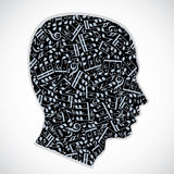 Vector silhouette of a head filled with musical notes and symbol Royalty Free Stock Images