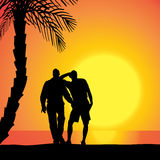 Vector silhouette of homosexuals. Royalty Free Stock Images