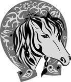 Vector silhouette of a horse with a horseshoe, a pet with a good luck symbol, a horse illustration the head, a pattern on an iron Royalty Free Stock Images