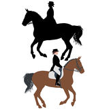 Vector silhouette of horse and jockey Royalty Free Stock Image