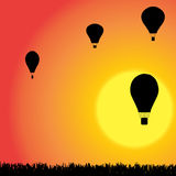 Vector silhouette of a hot air balloon. Stock Photography