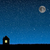 Vector silhouette of the house on the star sky. Stock Images