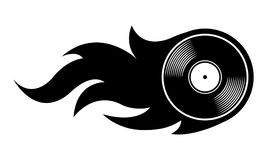 Vector silhouette illustration of vintage retro vinyl record ico. N with simple flames. Ideal for stickers, decals, casino poker logo design element and any kind Stock Photo