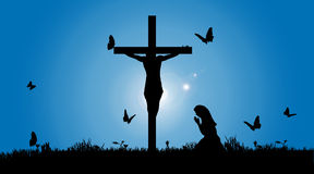 Vector silhouette of Jesus. Vector silhouette of Jesus on the cross Royalty Free Stock Photos