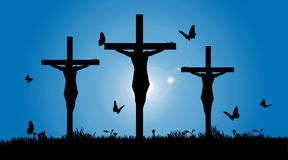 Vector silhouette of Jesus. Vector silhouette of Jesus on the cross Stock Photography