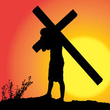 Vector silhouette of Jesus. Vector silhouette of Jesus, who carries his cross Royalty Free Stock Image