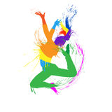 Vector silhouette jump girl Royalty Free Stock Image