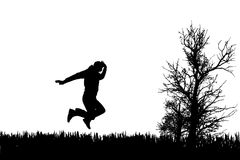Vector silhouette of jump. Royalty Free Stock Photos