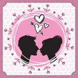 Vector Silhouette of Kissing Couple. Vector illustration of couple in love in stencil style Royalty Free Stock Photos