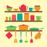 Vector silhouette of kitchen tools Royalty Free Stock Photos