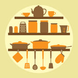 Vector silhouette of kitchen tools Stock Photos
