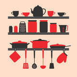 Vector silhouette of kitchen tools Royalty Free Stock Image