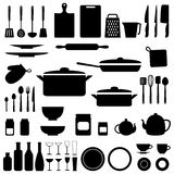 Vector silhouette of kitchen tools Stock Image