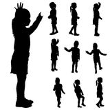 Vector silhouette of a little girl. Vector silhouette of a little girl in different situations Royalty Free Stock Images