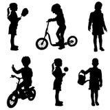 Vector silhouette of a little girl. Vector silhouette of a little girl in different situations Stock Photo