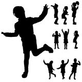 Vector silhouette of a little girl. Vector silhouette of a little girl in different situations Stock Image