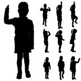 Vector silhouette of a little girl. Stock Photo