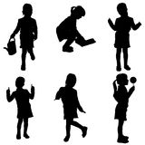 Vector silhouette of a little girl. Stock Image