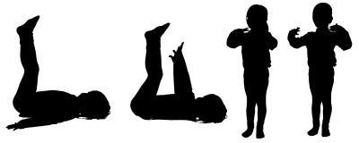 Vector silhouette of little girl. Stock Image