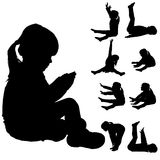 Vector silhouette of little girl. Royalty Free Stock Photos