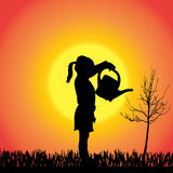 Vector silhouette of a little girl. Royalty Free Stock Image
