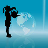 Vector silhouette of a little girl. Royalty Free Stock Images