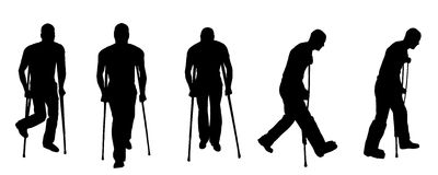 Vector silhouette man. Vector black silhouette man injury and crutches Royalty Free Stock Photo