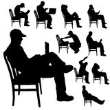 Vector silhouette of a man with a computer. Stock Photo