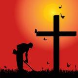 Vector silhouette man. Vector silhouette man at the cross at sunset Royalty Free Stock Photo