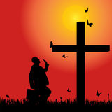Vector silhouette  of man. Vector silhouette of man at the cross at sunset Royalty Free Stock Images