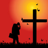 Vector silhouette  of man. Vector silhouette of man at the cross at sunset Stock Photos