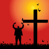 Vector silhouette  of man. Vector silhouette of man at the cross at sunset Royalty Free Stock Photo