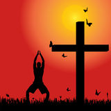 Vector silhouette  of man. Vector silhouette of man at the cross at sunset Stock Photo