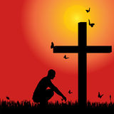 Vector silhouette  of man. Vector silhouette of man at the cross at sunset Stock Images