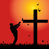 Vector silhouette  of man. Vector silhouette of man at the cross at sunset Royalty Free Stock Photos